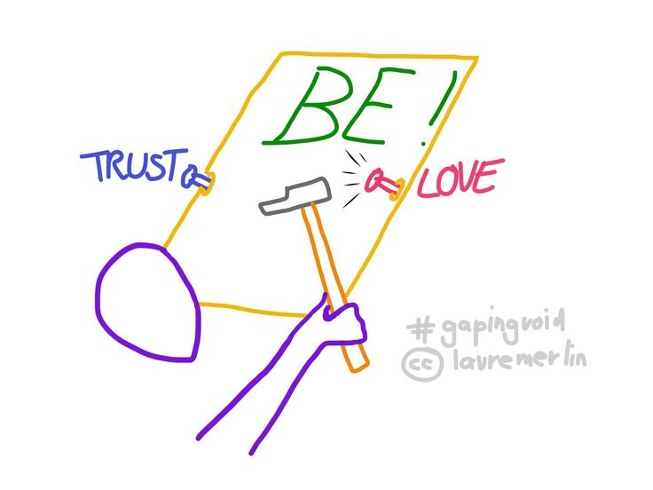 "Eye-wink to gapingvoid, thanks to his ""trust no one, love no one, be no one"" cartoon (huh, can't find the proper link, I received it by subscribing to his email newsletter, you might want to do so too!)"