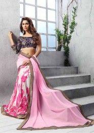 Party Wear Georgette Pink Printed Saree