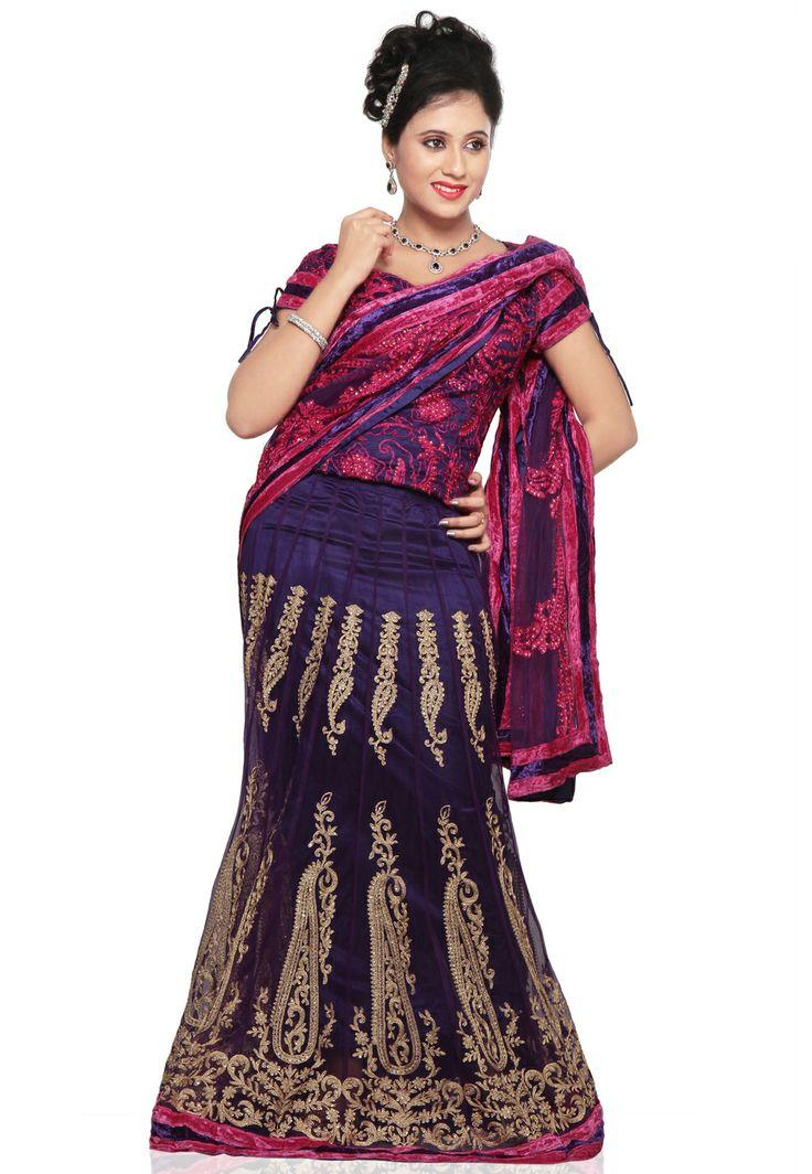Dark #Purple Net #Prestitched Saree @ $203.00