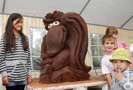 """Gombóc Artúr"" -  another popular figure in the Hungarian ""Pompom Tales"" cartoon series. The chocolate sculpture Guinness world-record-breaking chocolate fairy tale characters  category in his 239 per kilogram. (Szerencs Chocolate Festival, Szerencs, Hungary)"