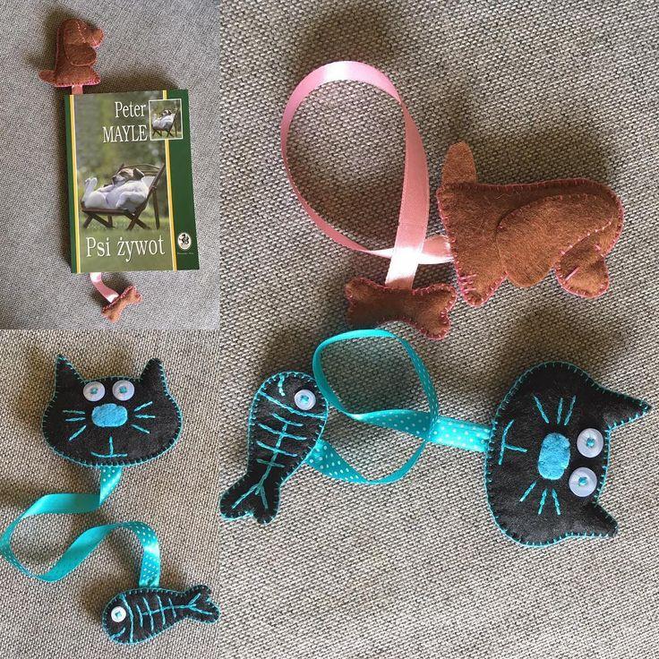 Jak pies z kotem 😜 #instacraft #niezchinzpasji #sprzedam #nasprzedaz #zakladka #książka #bookmark #kochamczytać #design #handmade #robotkireczne #filc #szycie #cat #dog #kot #pies #ryba #kość #hobby