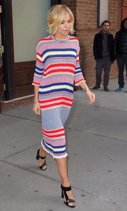 Sienna Miller: In a striped, knitted Celine dress. (Photo: Getty)
