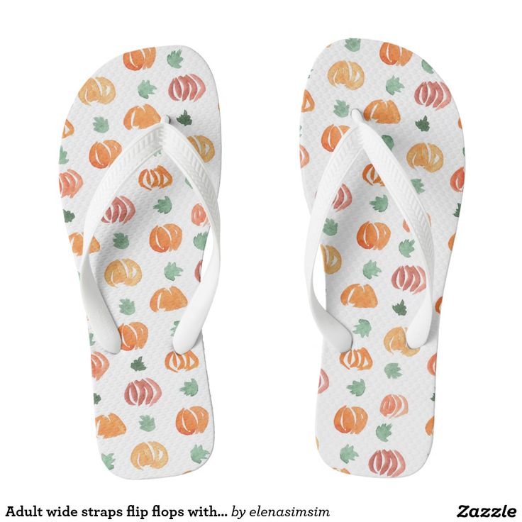 Adult wide straps flip flops with pumpkins