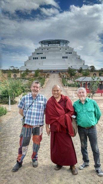 Gaz, Ven Sonam and Andy at Stupa of universal compassion Bendigo Australia