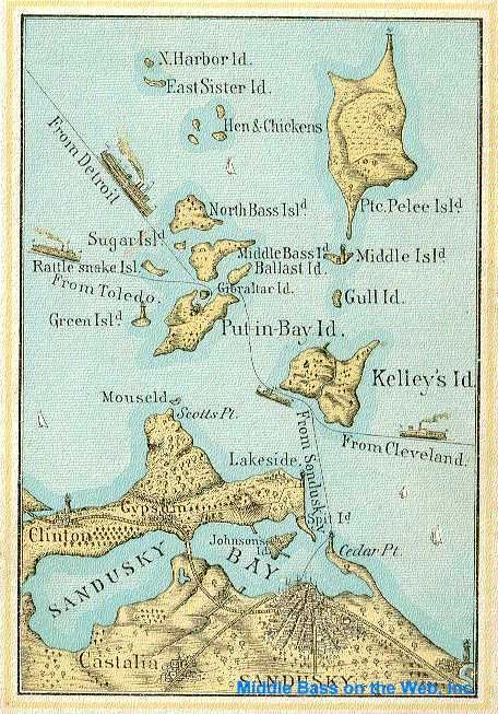 Lake Erie Islands ~ Map 1886. Note the passenger steamship routes from Detroit, Toledo, Cleveland, Cedar Point.  Also shows Sandusky, Kelleys, Put-in-Bay, Pelee Island, & several smaller uninhabited Lake Erie isles