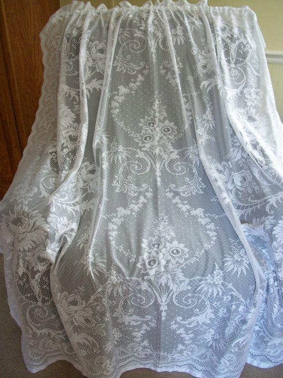 "4 White Lace Curtain Panels 58"" W x 63 1/2"" L   Lace Drapes Lace Curtains Set of 4"
