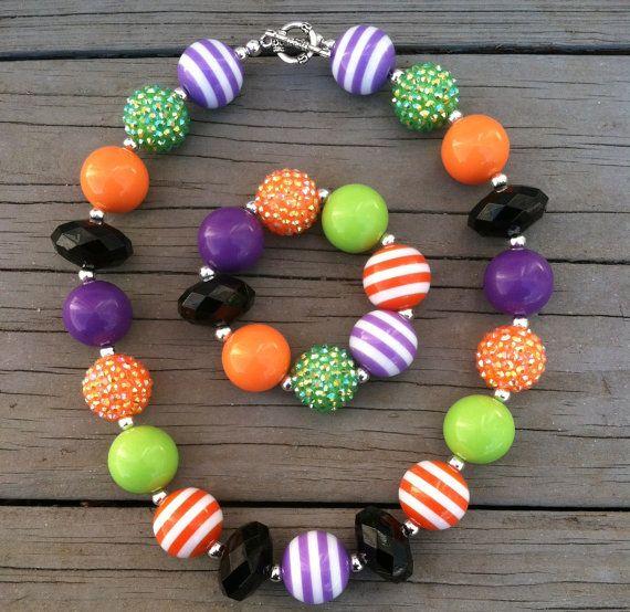 Halloween Lime Green/Purple/Orange Children's Babies Chunky Bubblegum Necklace Set
