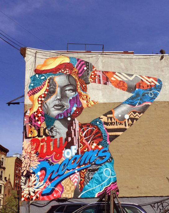 """The one and only Tristan Eaton is back in New York City where he crushed a new mural entitled """"Big City Dreams."""" Organized by the LISA Project, Eaton went big, bold and colourful as per usual. Like Graffiti then check  http://graff-art-shop.myshopify.com/ #graffiti #graffitiart #graff"""