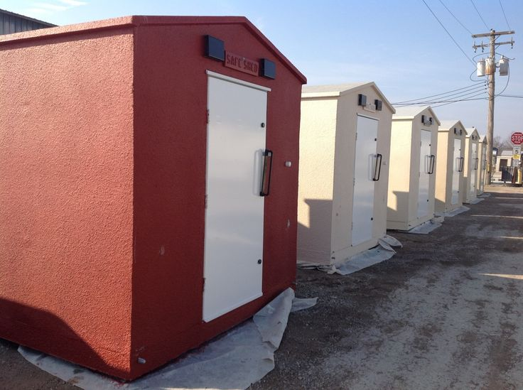 Pictures of Safe Sheds above ground storm shelters during construction, installation, and use.