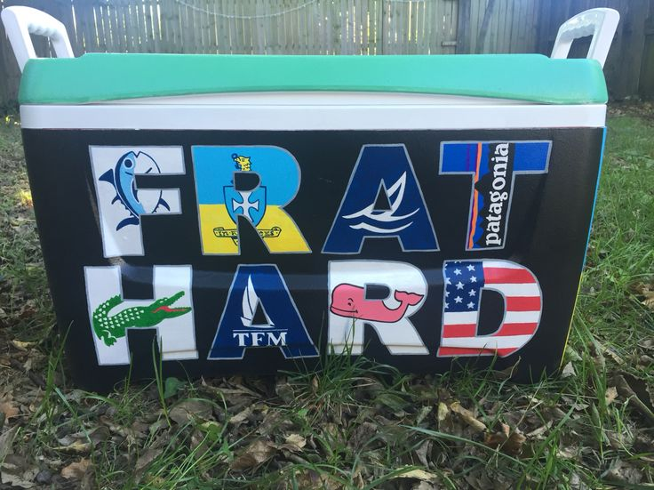 Frat hard, southern tide, sigma chi, sperry, Patagonia, Lacoste, tfm, vineyard vines, American flag painted cooler