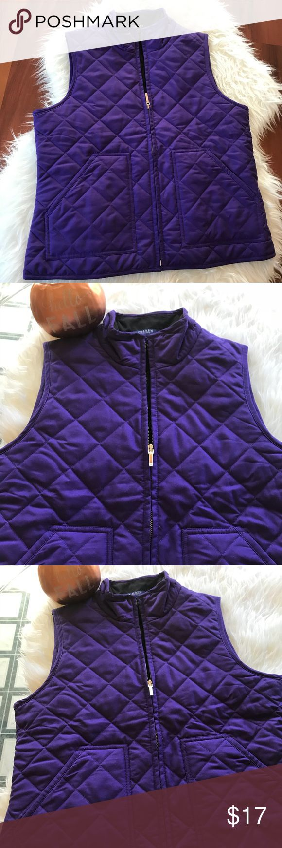 Chaps Purple Vest Size PM lightweight, 100% polyester and 100% polyester lining. Lightly filled. Front zipper, 2 front pockets. Chaps Jackets & Coats