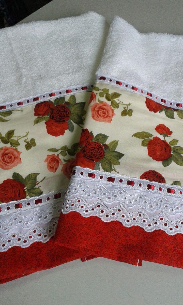 Toalha de Banho + Toalha de Rosto <br>Cor branca <br>Diversos Tipos de Barrado <br>100% algodão <br>Casa In