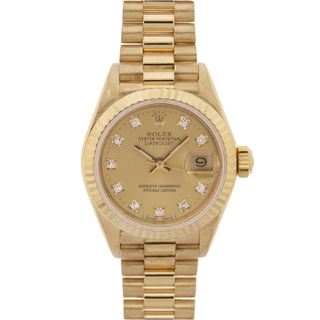 Rolex Women's Date-just President 18kt Gold Champagne Diamond Dial Watch