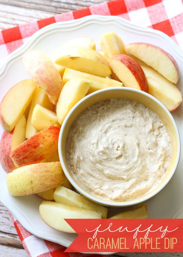 Delicious Fluffy Caramel Apple Dip recipe on { lilluna.com } Super easy to make and includes marshmallow fluff, caramel sauce, cream cheese, and pumpkin pie spice.