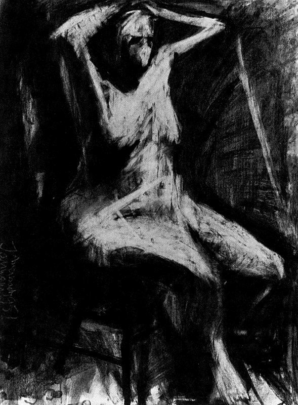 Woman with hands clasped on head 1951 Frank Auerbach