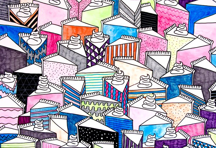 Collage  Illustration Pattern  Fineliner Print by Mike Perry