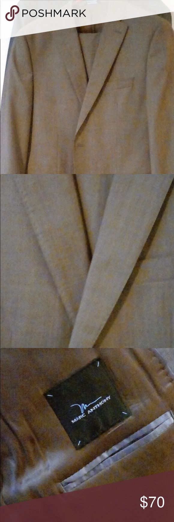 Men's brown suit Marc Anthony brown suit. Coat and pants. Pants 34x34 , coat size 42 regular. Great condition. Tan/brown color. Accepting offers Marc Anthony Suits & Blazers Suits