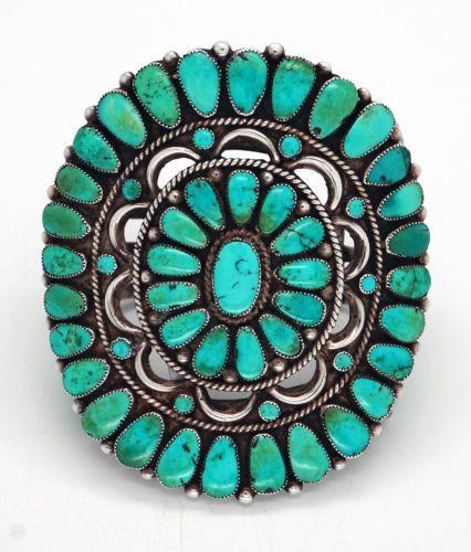 Ondelacy-Warren-Doris-Zuni-Bracelet-Vintage-Turquoise-Sterling-Native-American