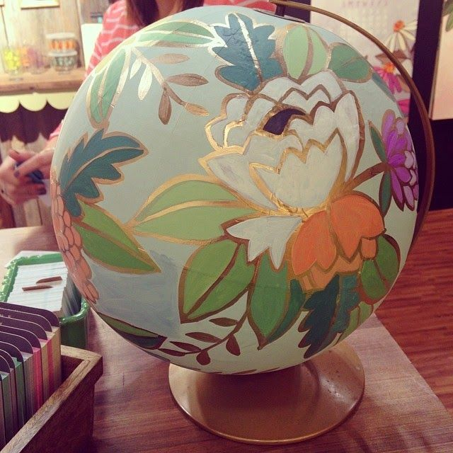 Painted Globe from 1Canoe2's booth. Photo by Summer of Southern Paper Co. on instagram - @southernpaperco