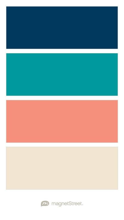 Navy Teal Coral And Champagne Wedding Color Palette