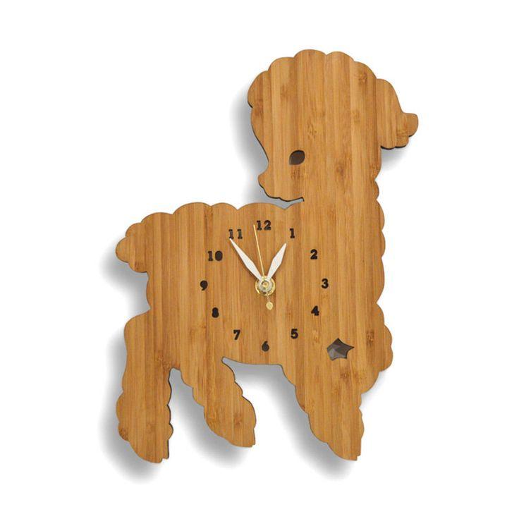 Fashion bamboo lamb wall clock child real wall surface decoration watch cartoon //Price: $88.50 & FREE Shipping //     #hashtag1