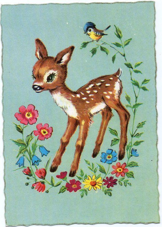 Vintage postcard 60s Bambi deer