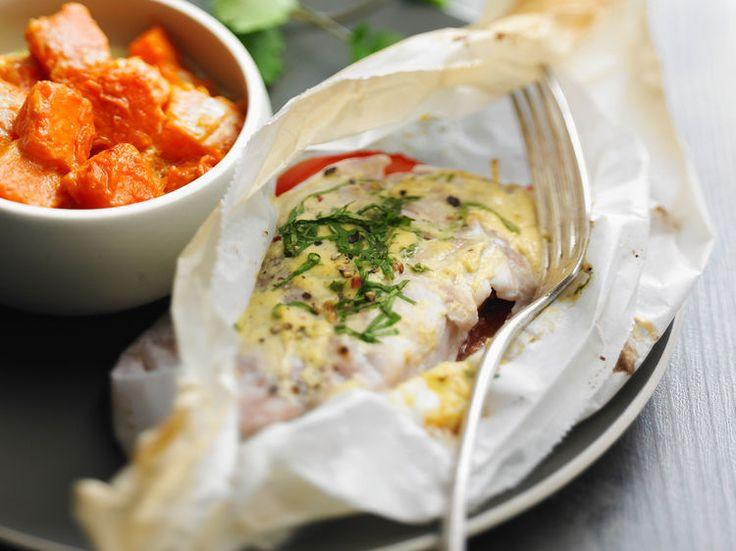 Découvrez la recette Papillote de poisson à la moutarde à l'ancienne sur cuisineactuelle.fr.