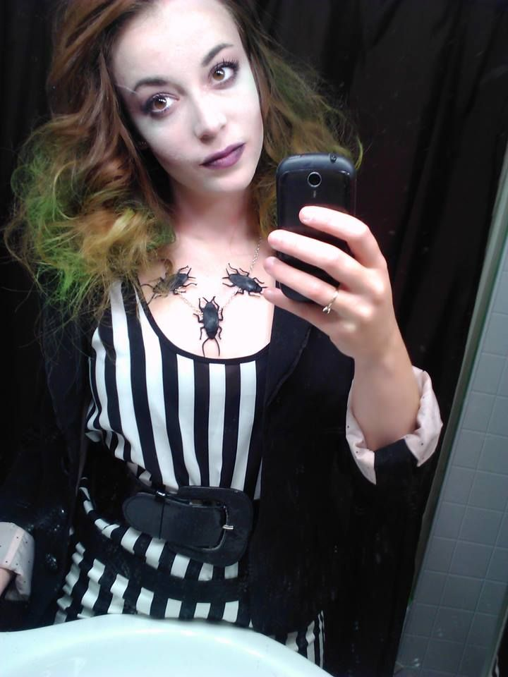 79 best beetlejuice costume images on pinterest halloween prop lady beetlejuice costume and make up diy walmart shirt and forever 21 skirt solutioingenieria Choice Image