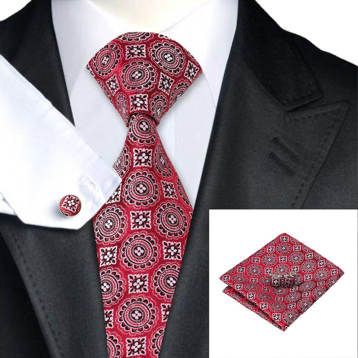 SN-1565 New Arriving Wedding Cravats Red Novelty Pattern Silk Neck Ties Hankerchief Cufflinks Set for Men on Sale