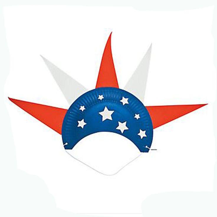 12 Paper Plate Patriotic Hat Craft Kits #13578171