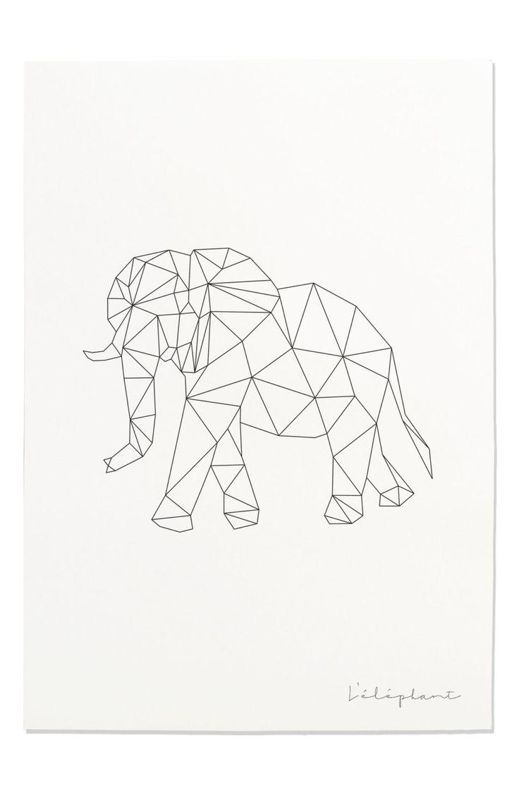 Elephant Art Print, Geometric Elephant, Elephant Prints, Elephant Line Art, Safari Wall Art, Nursery Decor, Cute Wall Art, Nursery Elephants – D. Braun