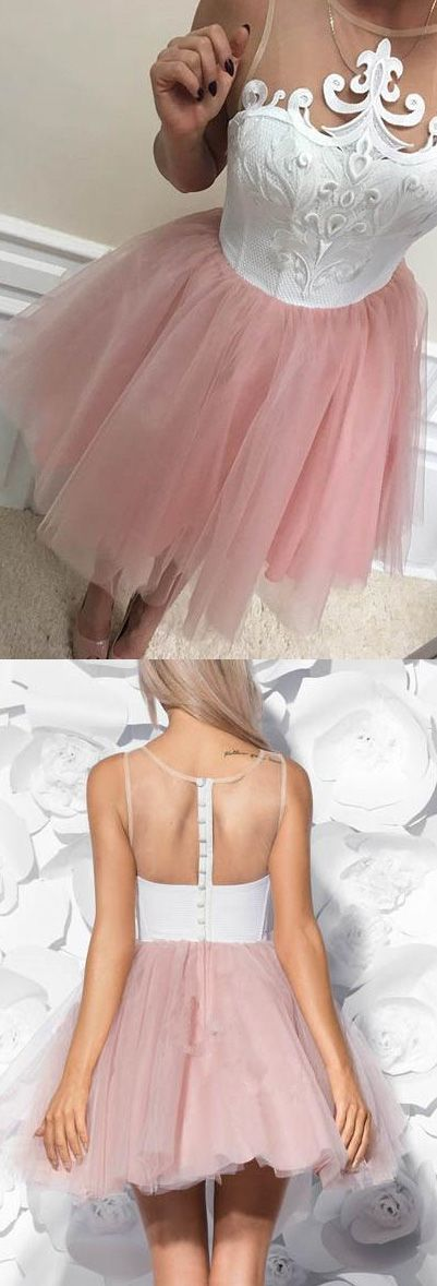 On Sale Sleeveless Dresses Short Pink Prom Party Dresses With Illusion Button Mini Outstanding Prom Dresses