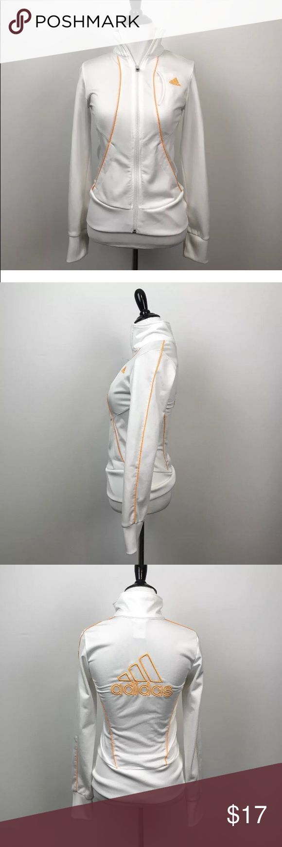 """Adidas Woman Size XS White Track Jacket Size XS White with yellow lettering Machine washable Long Sleeve Athletic Zip Up 15"""" armpit to armpit  24"""" length 24.5"""" Sleeve Adidas Tops Sweatshirts & Hoodies"""