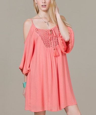 Look at this #zulilyfind! Coral Crochet Cutout Shift Dress by Flying Tomato #zulilyfinds
