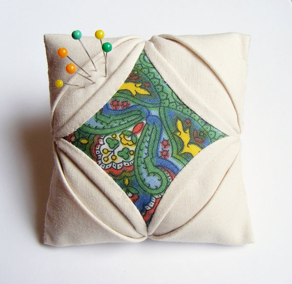 Handmade pincushion quilt cathedral window by LenteJulcsi on Etsy, $12.00