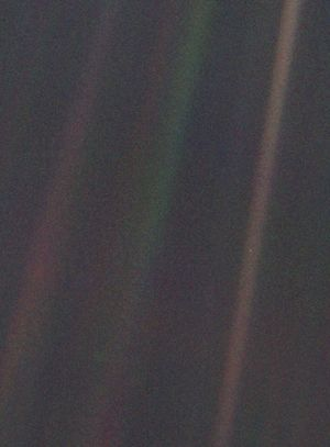 "Pale Blue Dot    ""It has been said that astronomy is a humbling and character-building  experience. There is perhaps no better demonstration of the folly of  human conceits than this distant image of our tiny world. To me, it  underscores our responsibility to deal more kindly with one another, and  to preserve and cherish the pale blue dot, the only home we've ever  known."" Dr Carl Sagan"