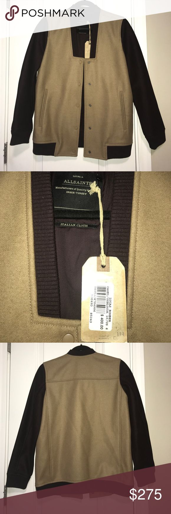 AllSaints jacket never been worn. Maroon and tan Never been worn tag still on allsaints jacket All Saints Jackets & Coats Utility Jackets