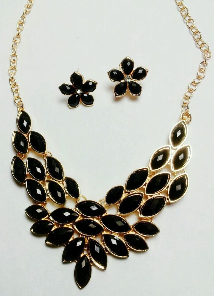 New Black Crystal Golden Floral Fashion Bib Necklace Earrings Party Jewelry Set  #fashionjewelry