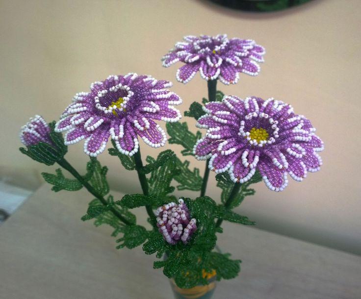 Букет хризантем | biser.info - всё о бисере и бисерном творчестве