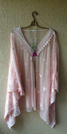 Image of Blush pink Free People lace and crochet beach kaftan