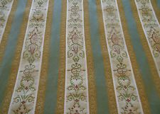 Vintage French Lisere Brocade Fabric~muted gray green raspberry pink red
