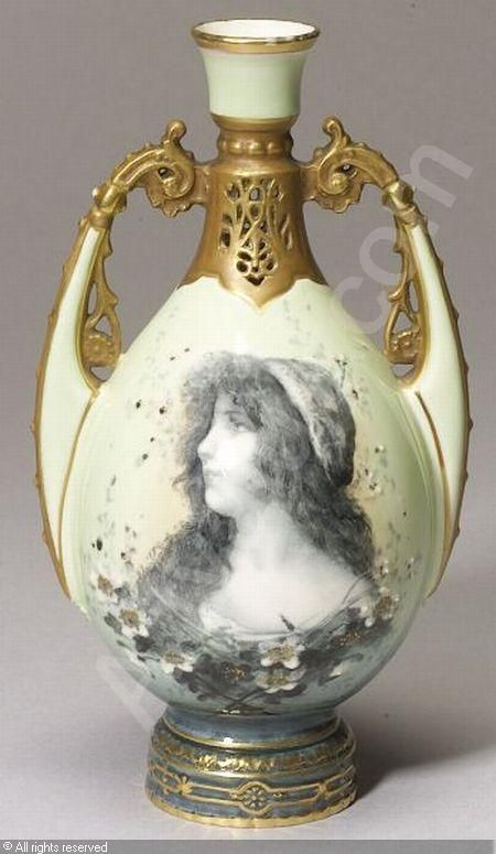Ernst Wahliss Picture Portrait Vase Reticulated Funnel