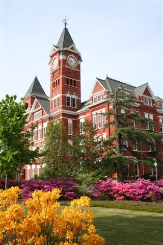 Samford Hall - used to called Old Main which was the main classroom building before it burned down and then Samford Hall was built using the old bricks salvaged from Old Main. Also, the clock tower chimes the Auburn Fight Song everyday at noon! Love, Peace, and ALL IN!!