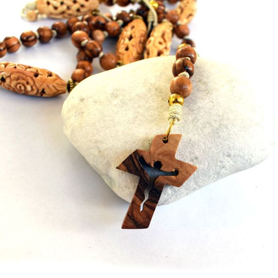 Olive wood Holy Land Necklace Rosary first communion baptism