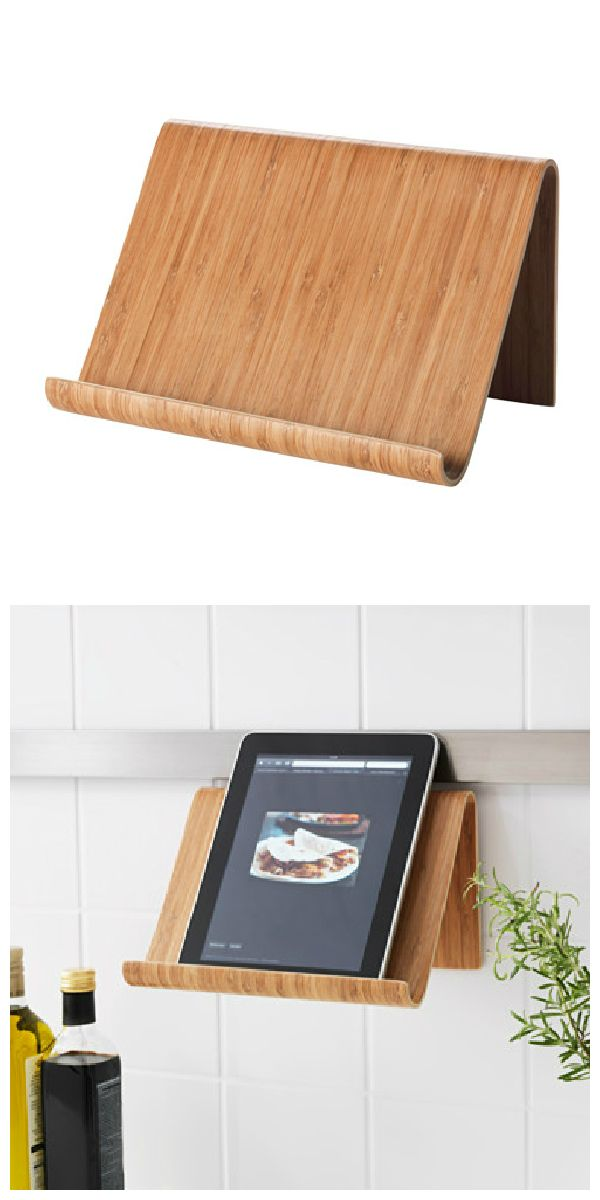 The hands-free RIMFORSA tablet stand is made from bamboo and can hold tablets or books. Place it on your countertop or hang it on the wall for more space when cooking.