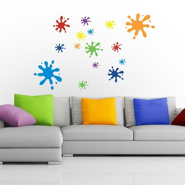 Multicoloured Splat Wall Sticker Set - Kids always painting on the walls? Then beat them at their own game with this explosively colourful wall sticker set! The Multicoloured Splat Wall Sticker Set helps you recreate an authentic 'explosion in a paint factory' effect in the comfort of your own home, bringing energy and smiles aplenty with it. This Splat sticker set comes complete with 15 separate splat shapes that can be positioned individually across the walls and ce...