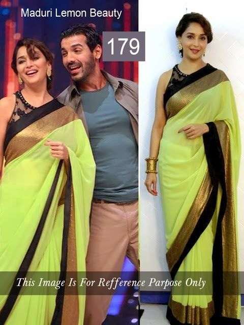 Madhuri Dixit Georgette Lime & Gold Bollywood Style Saree - 1791A