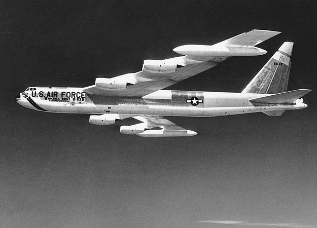 """Boeing B-52 Stratofortress     """"With a maximum speed of 650 mph, a range of over 8,000 miles and the capability to drop 70,000 pounds of bombs, the B-52 is the most lethal bomber in the world. It can also deliver nuclear weapons, cruise missiles and precision bombs.""""B52"""