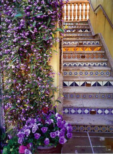 Mexican tile staircase via Tierra y Fuego Artistic Handcrafted Tile.