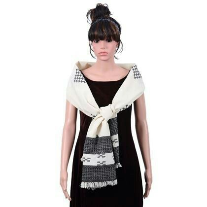 A collection of beautiful #stoles only for you! Buy this ethinc #blackandwhite #wrap @1511/- only! #embroidery #kutchiwork
